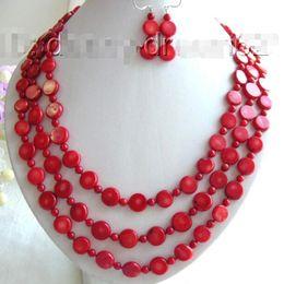 "$enCountryForm.capitalKeyWord Australia - Prett Lovely Women's Wedding shipping>>Genuine 24"" 3strands 12mm red coral beads necklace a set b649 silver-jewelry"