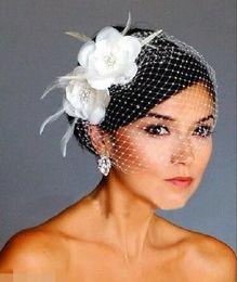 Wholesale vintage Birdcage Veils White Flowers Feather Birdcage Veil Bridal Wedding Hair Pieces Bridal Accessories cap veil hat