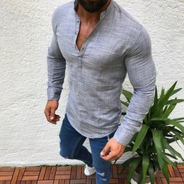 d9d620b10e Oversize S-5xl Men Social Shirt Casual Button Linen Mens Clothing Fashion  Solid Long Sleeve V Neck Slim Fit White Shirt