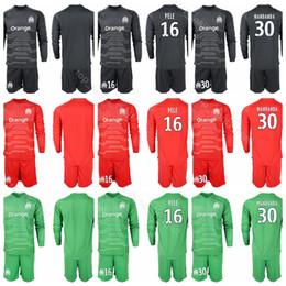 Discount jersey sets - Marseille Goalkeeper Long Sleeve 16 Yohann Pele Jersey Set Soccer 1 Romain Cagnon 40 Escales 30 Steve Mandanda Football