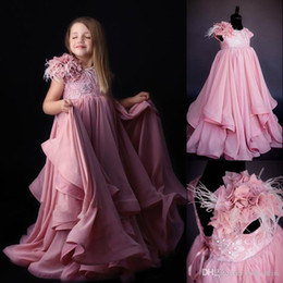 $enCountryForm.capitalKeyWord Australia - Pink Feather Flower Girls Dresses Lace Beads Jewel Neck Toddler Pageant Dress Boho Beach Wedding A Line Little Baby Gowns for Communion