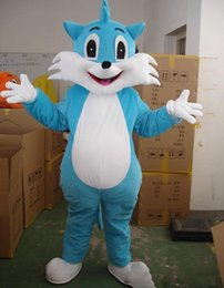 Cartoons full movies online shopping - 2018 High quality lucky cat blue doll Fancy Dress Cartoon Adult Animal Mascot Costume