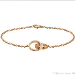 Amo coleção 18k rosa de ouro anel duplo amor pulseira b6027000 venda por atacado