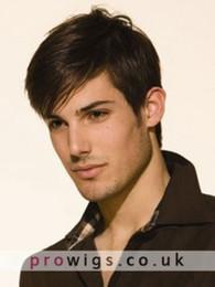 Human Hair Wig Beautiful UK - 100% Real Hair ! Human Hair Beautiful Fashion Short Brown Straight Wig For Men