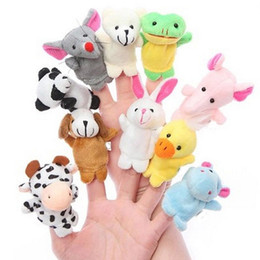 puppets UK - 10PCS Cute Animal Finger Puppet Plush Toys Child Baby Favor Dolls Boys Girls Cartoon Finger Puppets Biological