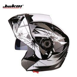 Discount modular helmets - JIEKAI 105 Dual Visor Motorcycle helmets Modular Flip Up Motocross helmet racing double lens capacete casco Motorcycle h