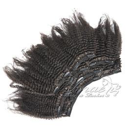 Vente en gros JOVO 100% Cheveux Humains 22 Clips 120g 3A 3B 3C 4A 4B 4C Afro Kinky Bouclés Clip Dans Les Extensions De Cheveux
