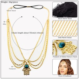 $enCountryForm.capitalKeyWord NZ - Alloy Hamsa Hand Fatima Tassel Hair Chain Headband Women Gold Chain 3-Layers Tassels Headband Women Wedding Hair Accessories Bridal Jewelry