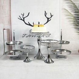 $enCountryForm.capitalKeyWord Australia - Set Display Decoration Metal Gold Silver Round High Tea Hanging Cup Cupcake Tray Crystal Cake Stand For Wedding Cake