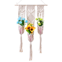 braided cotton rope wholesale NZ - Cotton Macrame Plant Hanger Indoor Outdoor Hanging Planter Basket Jute Cotton Rope Braided Craft Handmade Planter Holder Home Ornaments