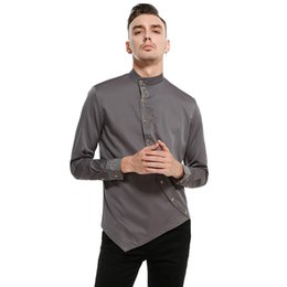 $enCountryForm.capitalKeyWord Australia - Men Solid Color Oblique Placket Button Irregular Shirts Fashion Casual Court Style Long Sleeve Slim Fit Party Shirts