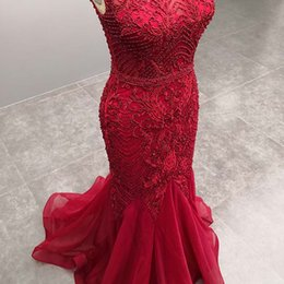Closed neCk evening dresses online shopping - Red Mermaid Evening Party Dress Long Close Back Sleeveless Beaded Embroidery Formal Ceremony Prom Party Gown