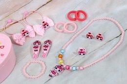 Pendants Sets Australia - new kid Necklaces, rings, hairpins, headbands set girl children jewel case American style