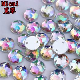 $enCountryForm.capitalKeyWord Australia - Micui 200PCS 10mm AB Clear Round Acrylic Rhinestones Crystal Flat Back Beads For Clothing Craft Decoration Sew On 2 Hole ZZ203G