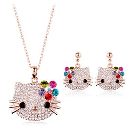 necklace crystal jewelry Australia - Hello Kitty Brand Italina Jewelry Sets For Women Earrings Necklace Women Austria Crystal Rose Gold Kids Jewellery Jewelry Sets