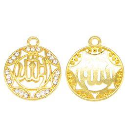 Bracelet Connector Pendant Australia - 50PCS Rhinestone Islamic Connector Religious Muslim Charm Pendant Bracelet DIY Metal Necklace Jewelry Accessories Findings wholesale Handma