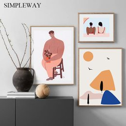 AbstrAct lines Art online shopping - Abstract Line Art Wall Poster Hand Drawn Style Illustration Geometric Canvas Print Painting Modern Decorative Picture Home Decor