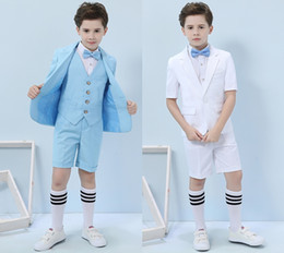 Discount black white linen clothes - 2019 Three-piece Short Sleeve And Pants Blue Pink Summer Boys Formal Party Wear Clothing Set Children Prom Performance C