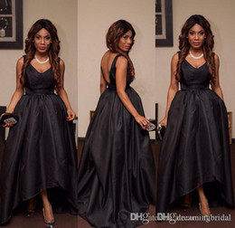 Black Low V Neck Gown Australia - African Dubai Black High Low Backless Prom Dresses 2017 New Sleeveless Pleats V Neck Formal Evening Gown Party Dresses Custom Made Plus Size