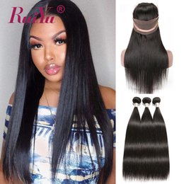 Remy fRont lace closuRe online shopping - 360 Lace Frontal Closure With Bundles Peruvian Straight Human Hair Bundles With Closure Lace Front Closure With Bundle Brazilian Remy Hair