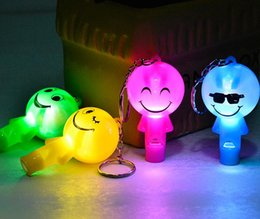 Wholesale Smile Face Whistle Key Ring Plastic LED Keychain Flashlight Cheap Promotion Gifts Giveaway SN2063