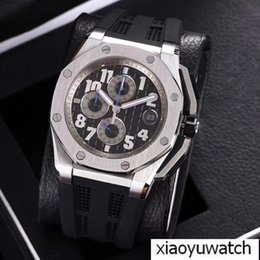 Rubber Coatings NZ - Royal Oak brand hot products AAA high quality watch VK quartz movement chronograph 44 mm rubber strap coated glass men's watch