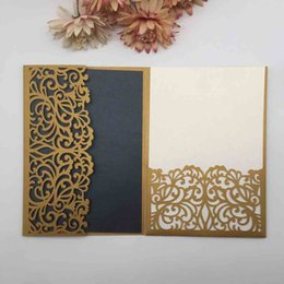 Wholesale tri day online – design Exquisite Garden Flowers Pattern Tri folded Wedding Gift Invitation Cards Engagements Ceremony Baby Show Party Valentine s Day Invitations