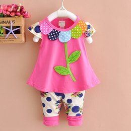 $enCountryForm.capitalKeyWord Australia - Fashion Baby Girls Summer Cotton Suits 1-4T Kids Cartoon Design for Leaves of a tree Clothing Children T-shirts+ Short Pants=2PCS Set