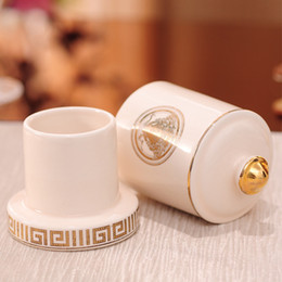 Eco toothpicks online shopping - Ceramic Fashion Toothpick Holder Box New Style Gilding Toothpick Storage Container Toothpick Dispenser Kitchen Table Accessories