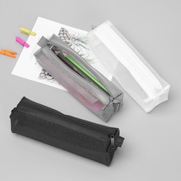 $enCountryForm.capitalKeyWord Australia - Transparent Zippered Cosmetic Bag Women Lady Nylon Mesh Makeup Bag Case Office Student Pen Box Stationery Storage Gifts