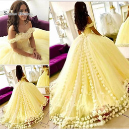 Wholesale Gorgeous Ball Gown New Arrival Sweet Party Dress Yellow Quinceanera Dresses Off Shoulder D Floral Appliques Cheap Prom Dresses
