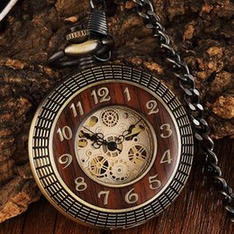 steampunk circle glasses 2019 - Retro Wood Circle Mechanical Men Pocket Watch Hand Vintage Steampunk Fob Necklace Clock Male Chain For Ladies Boyfriends