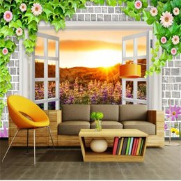 Wall stickers for kitchen WindoW online shopping - custom size d photo wallpaper living room mural window brick wall flower sunlight d picture sofa TV background wallpaper non woven sticker