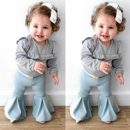Girls flannel clothes online shopping - Baby Girl T T Kid Striped Sleeve Top Flared Flannel Pants Autumn Clothes Set