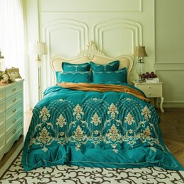 Elegant Queen Size Bedding Sets Australia - Elegant Baroque 80S Egypt Cotton Luxury Bedding Set Embroidery silky Duvet Cover Bed Sheet Pillowcases Queen King Size 4Pcs
