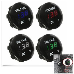 Led voLtmeter car online shopping - 12V Mini Round Panel LED Digital Display Voltmeter Meter For Motorcycle Car Boat Instruments Colors AAA1009