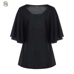 plus size clothing batwing shirt Australia - Plus Size T Shirt Floral Print Batwing Sleeve Women Clothes Black Top T Shirt Ladies Tee Ethnic Femme Big Size