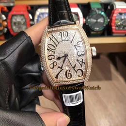 H Case Australia - Luxry Brand New 46mm LADIES'COLLECTION 5000 H SC D3 CD Diamond Dial Rose Gold Case Quartz Movement Mens Watch Black Leather Strap Watches
