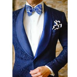 Slim Fit 48 Size Suit Australia - Custom Made 2019 Pattern Men Suits Sets Shawl Lapel One Button Slim Fit Prom Tuxedos Two Pieces Best Men's Groom Wears