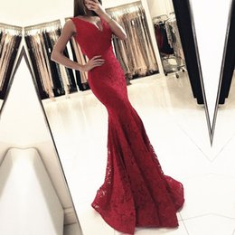 black lace fishtail evening dress Australia - Sexy V Neck Evening Dresses Red Lace Mermaid Formal Women Party Dress 2020 Fishtail Prom Gowns