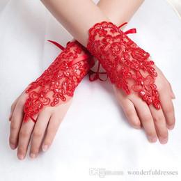 White Wedding Dresses Gloves Australia - Bride lace wedding dress gloves red wedding dress short design white bridal gloves Short design lucy refers to plus size