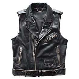Genuine Motorcycle Jackets Australia - 2019 Vintage Black American Motorcycle Leather Jacket Genuine Cowhide Spring Slim Fit Natural Biker's Vest FREE SHIPPING