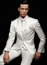 $enCountryForm.capitalKeyWord Australia - 2019 Custom made White Men's Suits 3 pieces groom tuxedos wedding suits for men Groom Groomsmen Tuxedos mens wedding suits Jacket Pant Vest