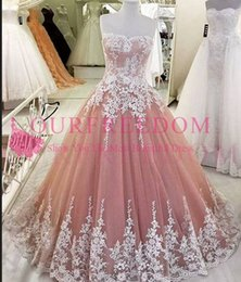 Images White Evening Dresses Australia - 2019 Real Image Strapless Quinceanera Dresses White Lace Appliques Peach Lace Up Back Sweet 16 18 Formal Evening Occasion Party Dresses
