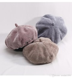 Wholesale New Autumn Winter pure color baby kids corduroy beret cap female newsboy cap retro pumpkin hats accessories