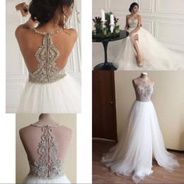 $enCountryForm.capitalKeyWord Australia - Dubai Beach Sleeveless Crystal Beaded Wedding Dresses 2020 Real Photos Halter A-line Tulle High Split Bridal Gowns Robe De Mariee