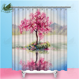 $enCountryForm.capitalKeyWord NZ - Vixm Oil Painting Illustration Watercolor Of Four Season Tree Shower Curtains Waterproof Polyester Fabric Hanging Curtains For Home Decor