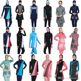$enCountryForm.capitalKeyWord Australia - Plus Size Muslim Swimwear Women Modest Floral Print Full Cover Swimsuit Islamic Hijab Islam Burkinis Beachwear Bathing Suit
