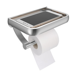 $enCountryForm.capitalKeyWord Australia - Wall Mount Toilet Paper Holder Aluminum Tissue Paper Holder Toilet Roll Dispenser With Phone Storage Shelf for Bathroom