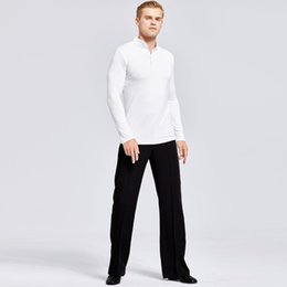 long sleeve costume latin NZ - Latin Dance Shirts White Long Sleeve Tops Black Pants Men Performing Clothes Modern Dance Costume Male Practice Dancewear DN2854